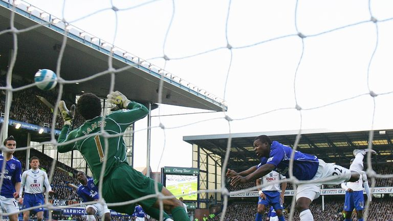 Yakubu scores with a header for Everton against another former club Portsmouth