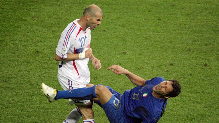 FILES - A photo taken 09 July 2006 shows French midfielder Zinedine Zidane (L) gesturing after head-butting Italian defender Marco Materazzi during the Wor