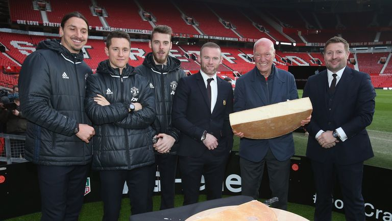 Manchester United players and Jean-Claude Biver at the launch of a TAG Heuer Special Edition Manchester United Co-Branded Watch