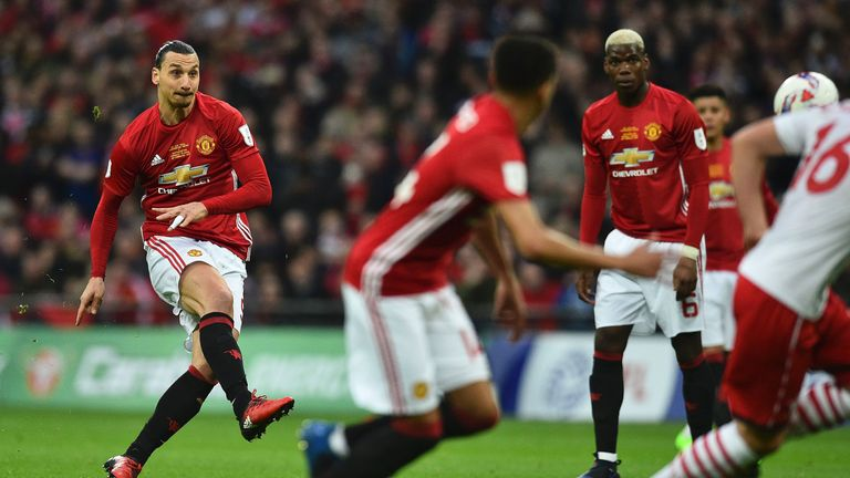 Zlatan Ibrahimovic scores the opening goal of the EFL Cup final