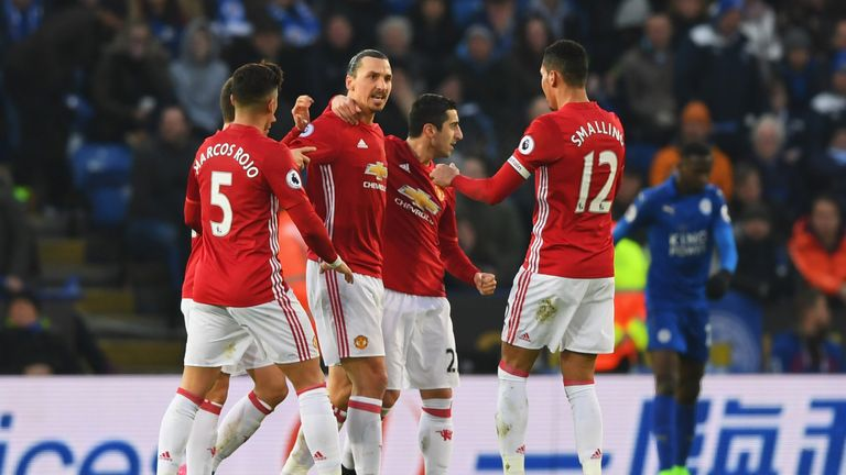 Zlatan Ibrahimovic celebrates with team-mates after scoring