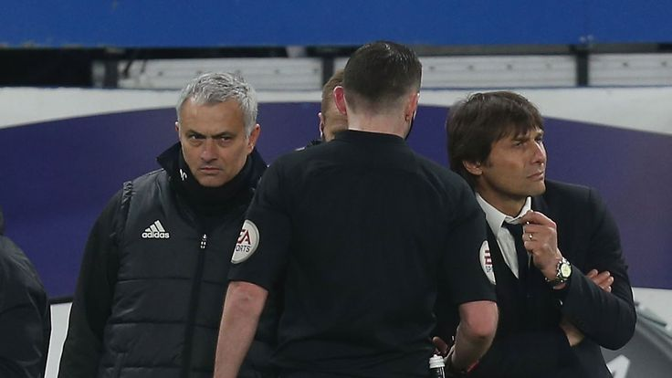 Jose Mourinho (left) and Antonio Conte had to be separated following a confrontation at Stamford Bridge