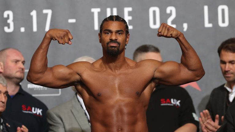 Haye weighed 16st 9lb for the first Bellew bout