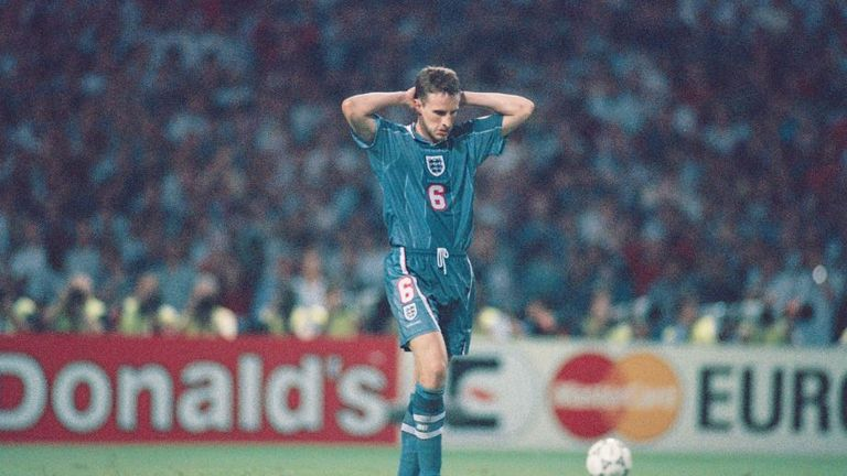 Gareth Southgate after missing his penalty for England in the Euro '96 semi-final against Germany