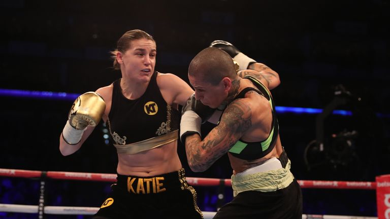 O2 BOXING 4-3-17.02,LONDON.PIC;LAWRENCE LUSTIG.Womans Super-Featherweight.Katie Taylor vs Monica Gentili.