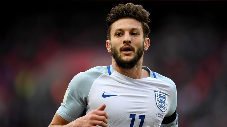 Adam Lallana set up Jamie Vardy's second goal for England against Lithuania