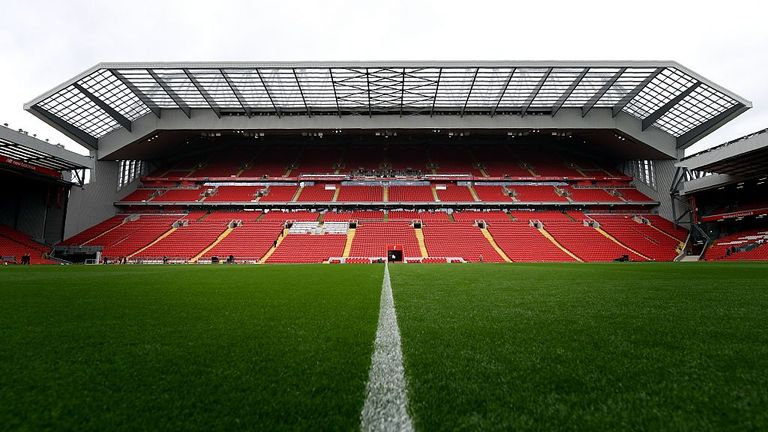 Liverpool Football Club's new main stand is pictured from accross the pitch on September 9