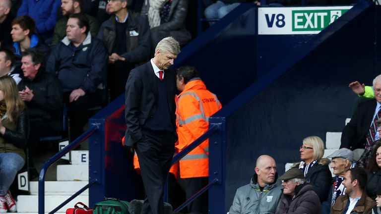 Arsenal manager Arsene Wenger looks dejected after his side's 3-1 defeat to West Brom