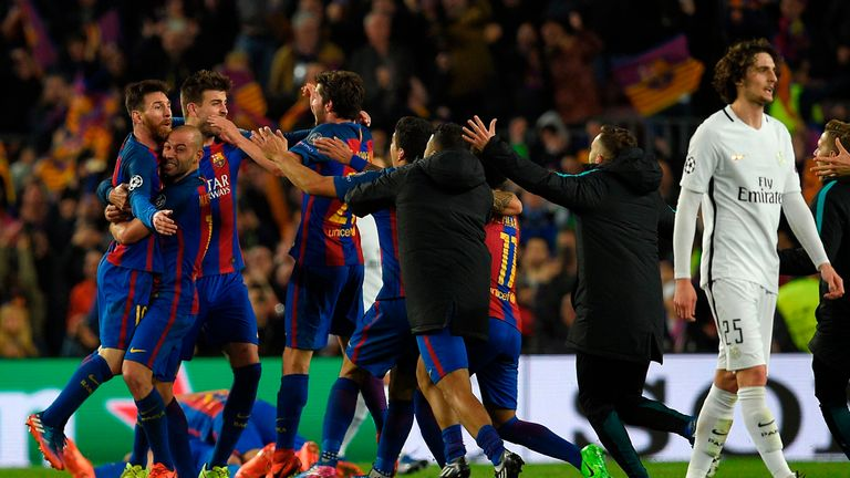 Barcelona players celebrate their victory during the UEFA Champions League round of 16 second leg football match FC Barcelona vs Paris Saint-Germain