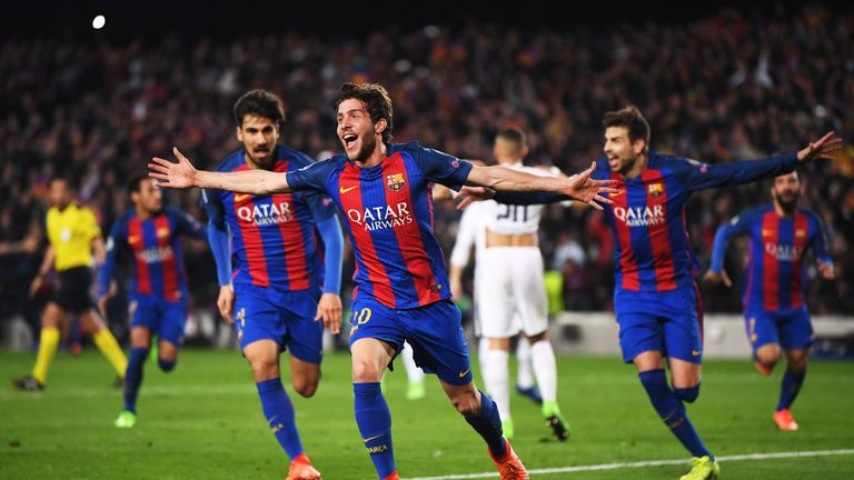 Sergi Roberto of Barcelona (20) celebrates as he scores their sixth goal during the UEFA Champions League Round of 16 second leg v PSG