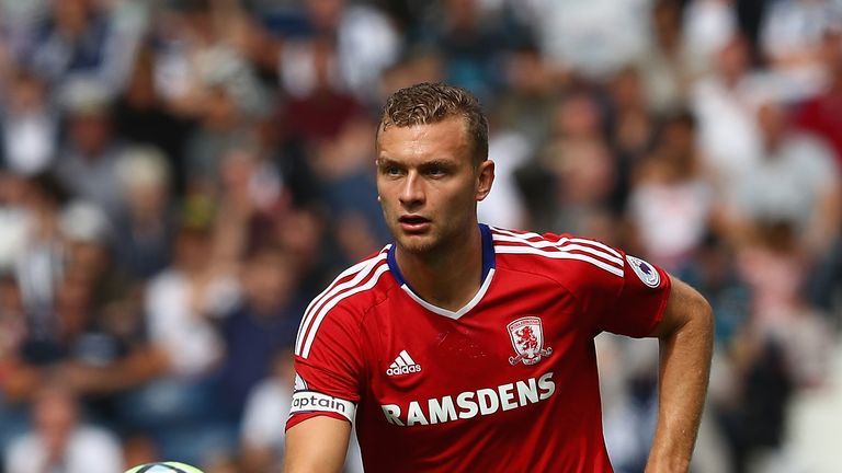 WEST BROMWICH, ENGLAND - AUGUST 28:  Ben Gibson of Middlesbrough during the Premier League match between West Bromwich Albion and Middlesbrough at The Hawt