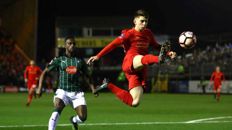 PLYMOUTH, ENGLAND - JANUARY 18: Ben Woodburn of Liverpool controls the ball during The Emirates FA Cup Third Round Replay match between Plymouth Argyle and