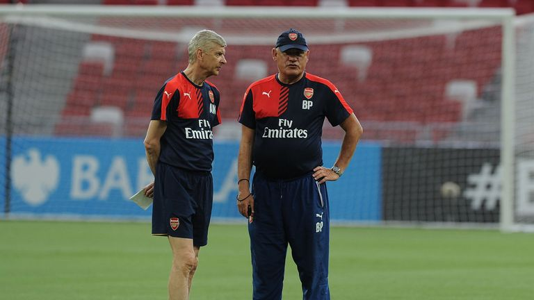 SINGAPORE - JULY 14: of Arsenal during a training session at the Singapore National Stadium on July 14, 2015 in Kallang