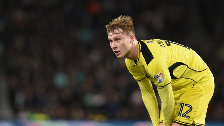 Derby, ENGLAND- FEBRUARY 21:Cauley Woodrow of Burton Albion looks on during the Sky Bet Championship match between Derby County and Burton Albion at the iP