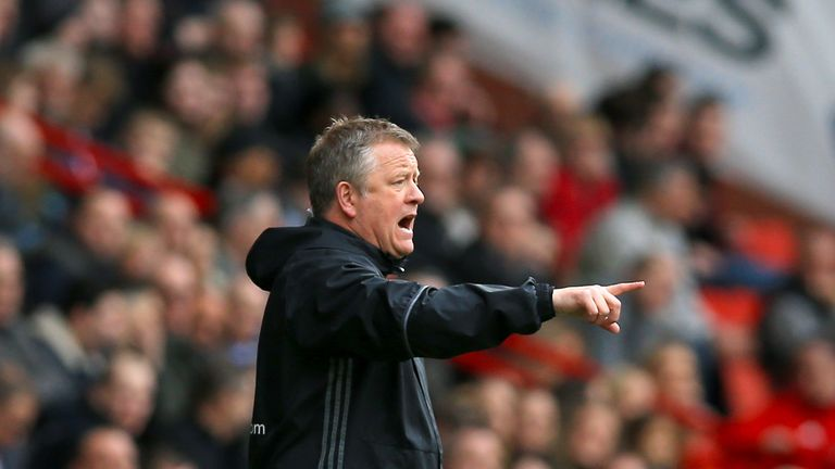 Sheffield United manager Chris Wilder issues instructions from the touchline