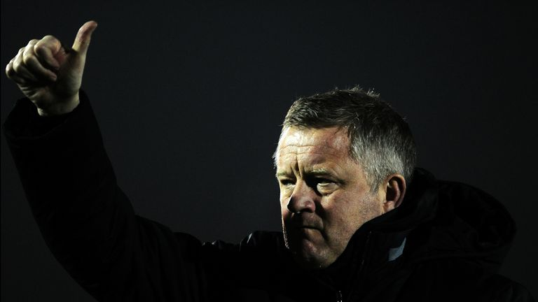 Sheffield United manager Chris Wilder gives the thumbs-up to travelling fans