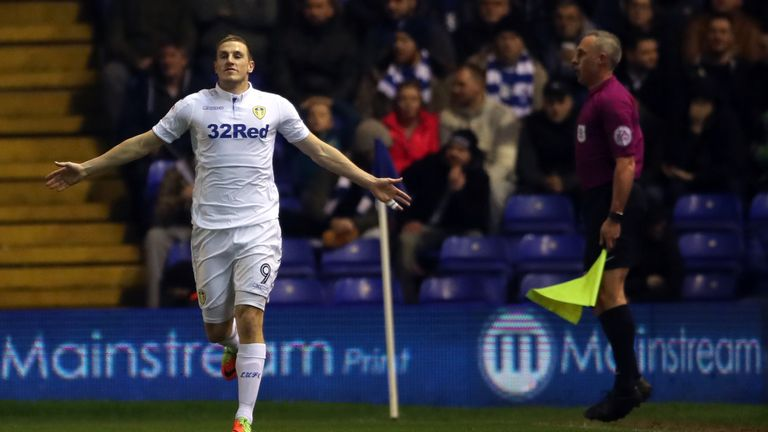 Leeds United's Chris Wood celebrates scoring his side's first goal of the game during the Sky Bet Championship match at St Andrews, Birmingham.