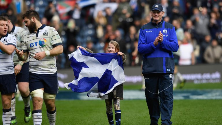Cotter welcomed daughter Arabella onto the pitch after Scotland's win