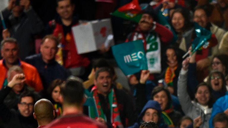 Cristiano Ronaldo celebrates after scoring for Portugal against Hungary