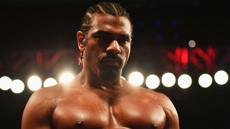 LONDON, ENGLAND - MARCH 04:  David Haye looks on from the ring