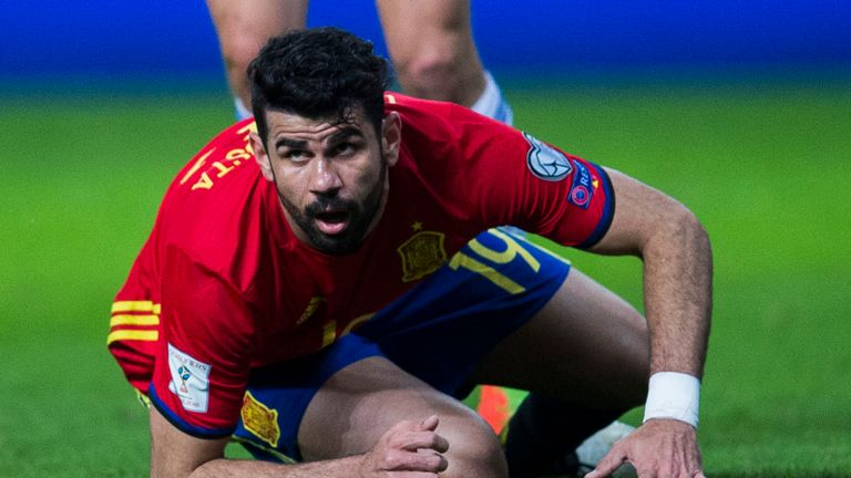 Diego Costa of Spain reacts during the 2018 World Cup Qualifier between Spain and Israel