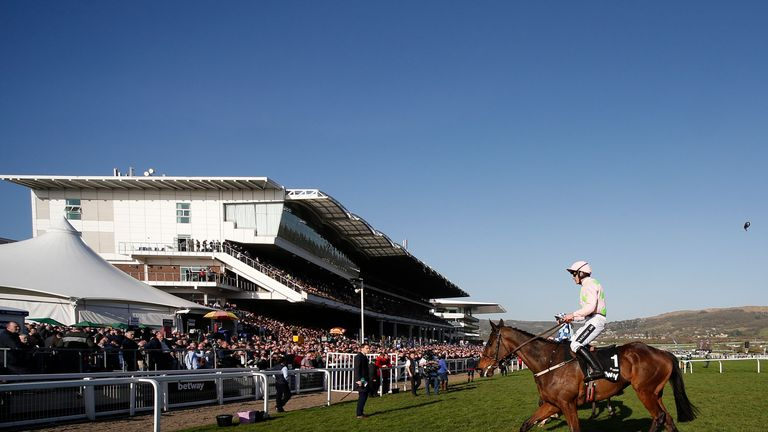 CHELTENHAM, ENGLAND - MARCH 15: Ruby Walsh riding Douvan after finishing down the field in The Betway Quenn Mother Champion Chase at Cheltenham racecourse
