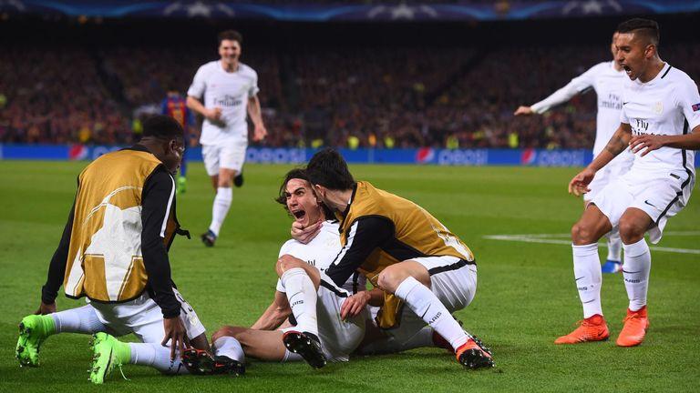 Edinson Cavani goal celeb, Barcelona v Paris Saint-Germain, Champions League