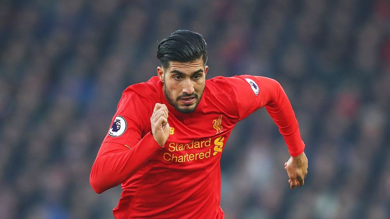 Emre Can in action during the Premier League match between Liverpool and Sunderland at Anfield