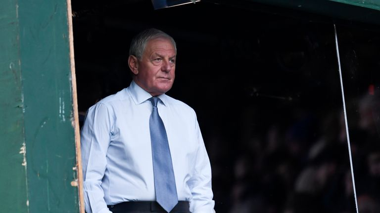 Former Rangers boss Walter Smith watches on from the Sky Sports studio at Ibrox