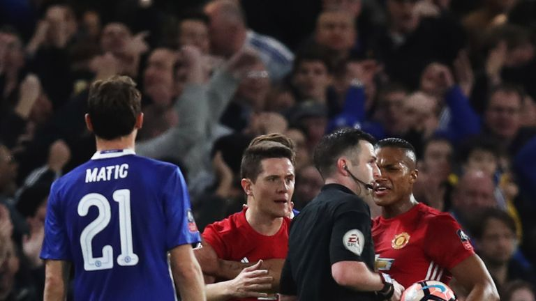 Ander Herrera was sent off after just 35 minutes, with both yellows coming for challenges on Eden Hazard