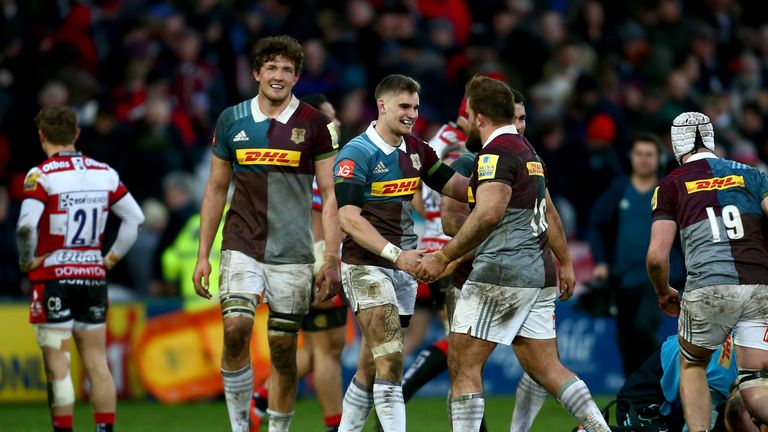 Harlequins celebrate their dramatic win
