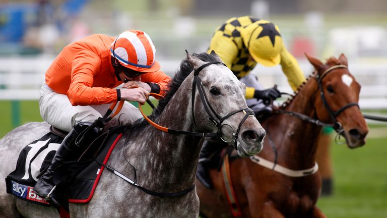 Labaik ridden by Jack Kennedy gets the better of Melon to win The Sky Bet Supreme Novices' Hurdle