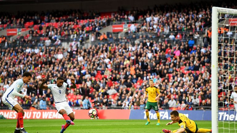 Jermaine Defoe scores his first international goal in four years against Lithuania at Wembley