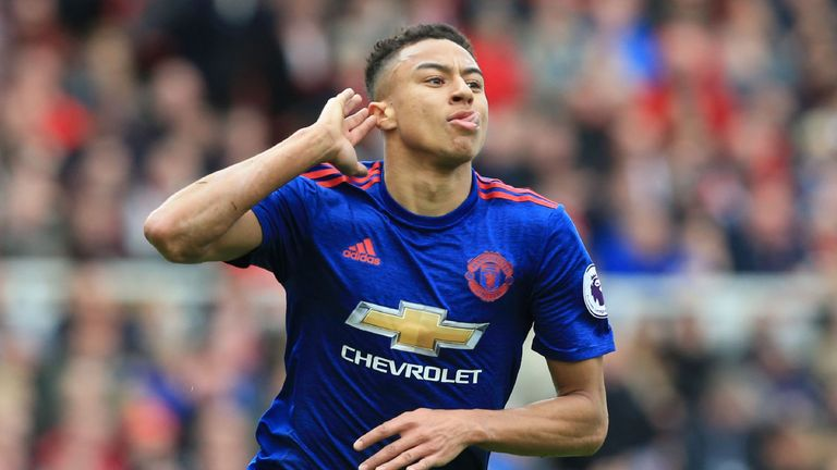 Manchester United's English midfielder Jesse Lingard celebrates after scoring their second goal against Middlesbrough