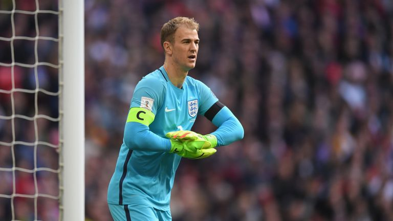 LONDON, ENGLAND - MARCH 26: Joe Hart of England looks on during the FIFA 2018 World Cup Qualifier between eEngland and Lithuania at Wembley Stadium on Marc