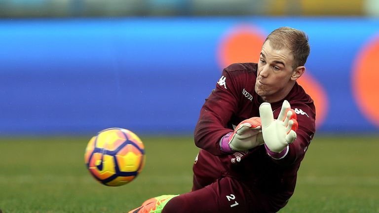 Joe Hart in action during the warm up before the Serie A match between Empoli FC and FC Torino