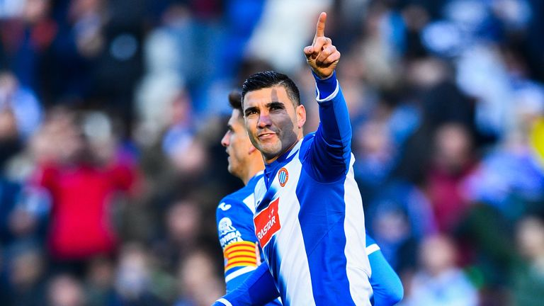 BARCELONA, SPAIN - JANUARY 29:  Jose Antonio Reyes of RCD Espanyol celebrates after scoring his team's first goal from the penalty spot during the La Liga