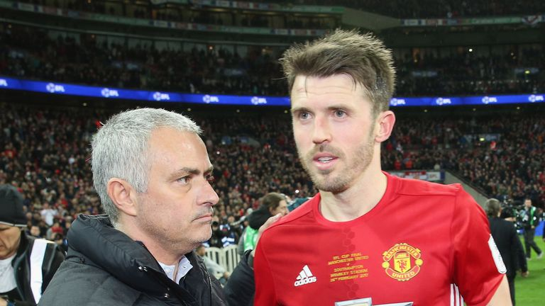 Jose Mourinho and Michael Carrick EFL Cup Final, Wembley Stadium, on February 26, 2017