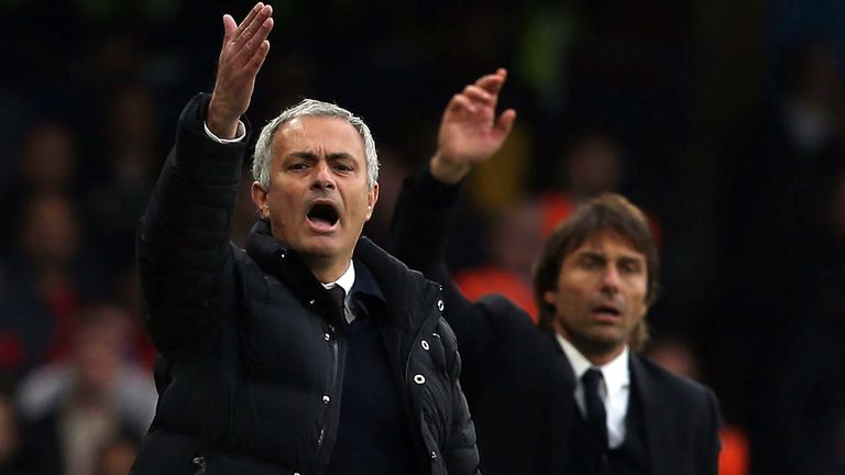 Jose Mourinho of Manchester United and Antonio Conte of Chelsea during the Premier League match at Stamford Bridge on October 23, 2016