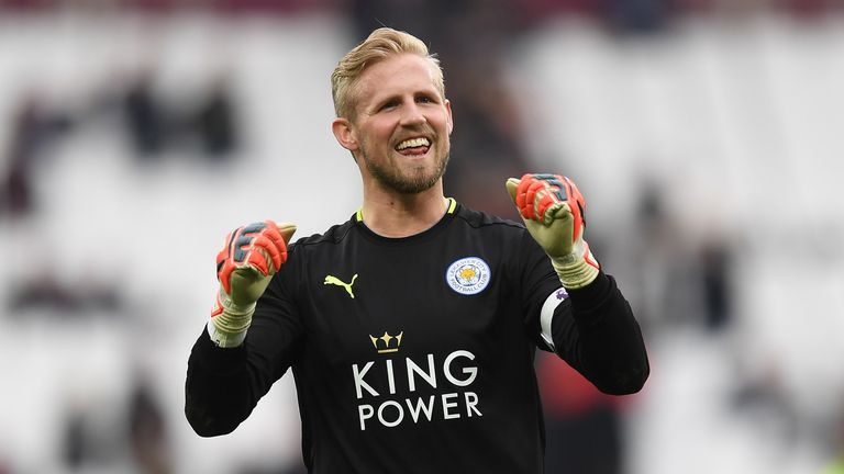 Kasper Schmeichel celebrates after Leicester City's 3-2 victory over West Ham United