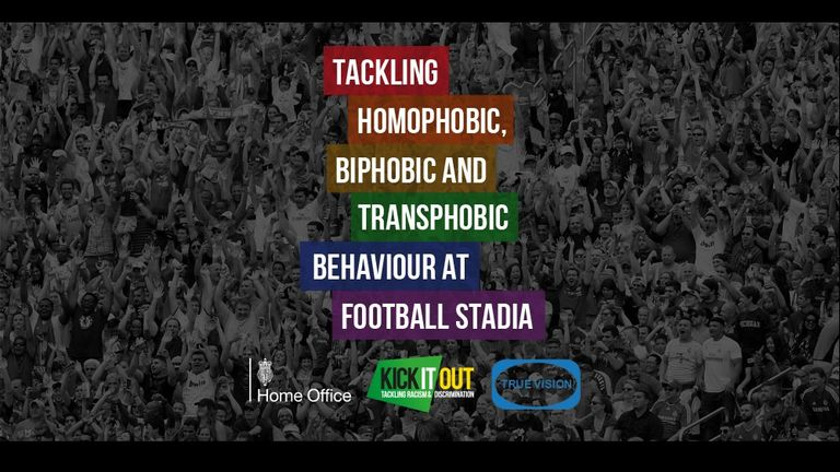Tackling Homophobic, Biphobic and Transphobic Behaviour at Football Stadia graphic, Kick It Out, Home Office, True Vision