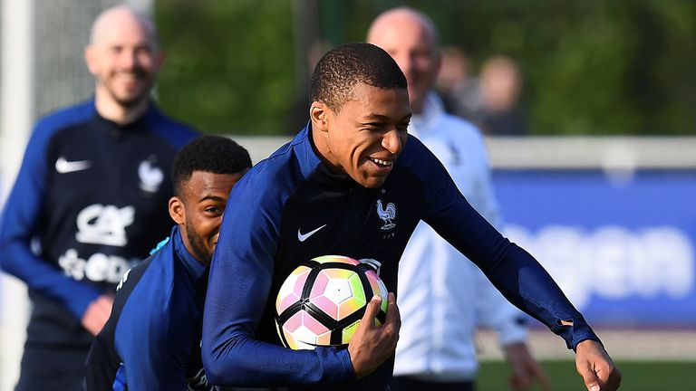 Mbappe during a France training session