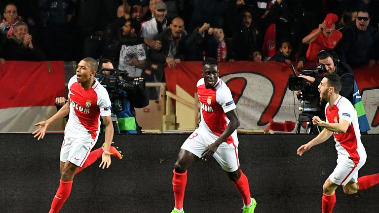 Monaco forward Kylian Mbappe (left) celebrates after scoring against Manchester City