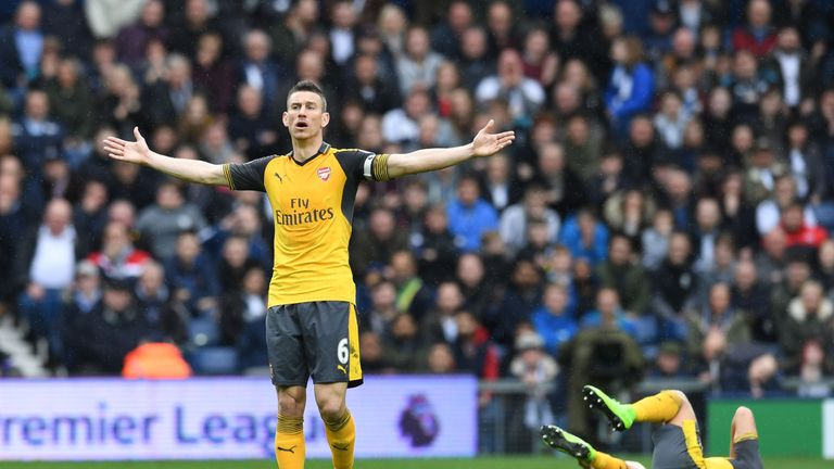 Laurent Koscielny of Arsenal during the Premier League match against West Bromwich Albion at The Hawthorns.