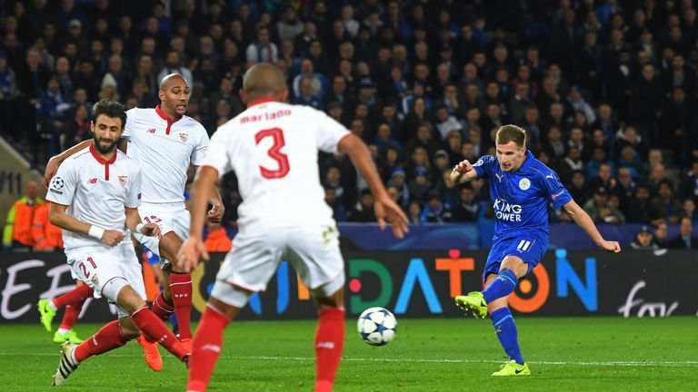 LEICESTER, ENGLAND - MARCH 14:  Marc Albrighton of Leicester City scores his team's second goal during the UEFA Champions League Round of 16, second leg ma