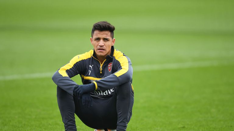 Alexis Sanchez during a training session at London Colney prior to the FA Cup match against Lincoln Town