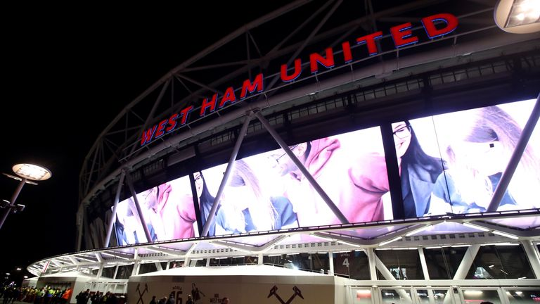 STRATFORD, ENGLAND - MARCH 06:  A general view outside the stadium prior to the Premier League match between West Ham United and Chelsea at London Stadium