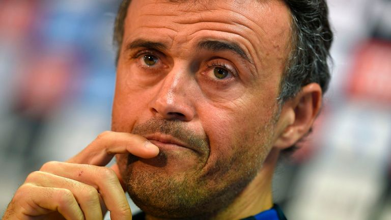 Barcelona's coach Luis Enrique gives a press conference at the Sports Center FC Barcelona Joan Gamper in Sant Joan Despi, near Barcelona on March 11, 2017,