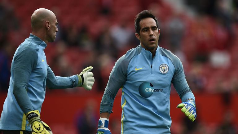 Manchester City's Willy Caballero (left) has replaced Claudio Bravo in goal