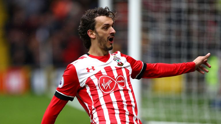 WATFORD, ENGLAND - MARCH 04: Manolo Gabbiadini of Southampton celebrates scoring his fourth goal during the Premier League match between Watford and Southa